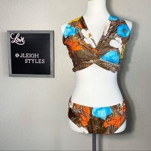 Vintage 70's 3 Pc Brown Floral Beach Swim Outfit
